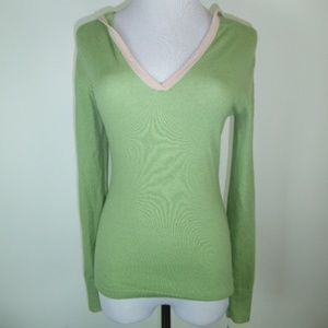 PARK VOGEL GREEN CASHMERE HOODED SWEATER S 1